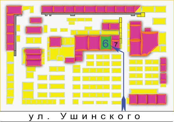 Схема рынка Радиолюбитель, г. Киев, Ушинского 4 (остановка Караваевы Дачи) .